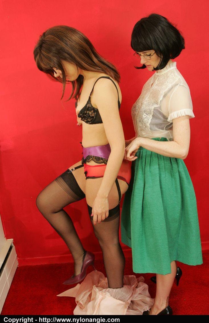 Mature Julia with her schoolgirl Angie